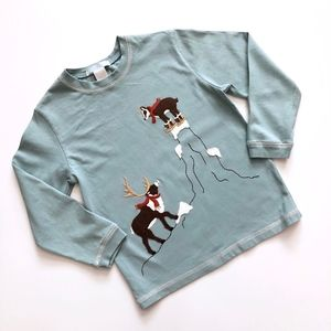 Boys Janie & Jack Blue Brown Reindeer Shirt 4T
